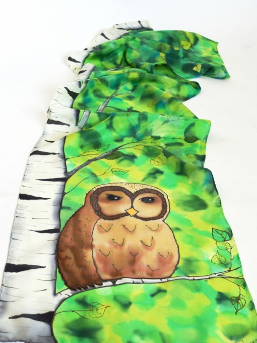 Green Birch Owl Scarf