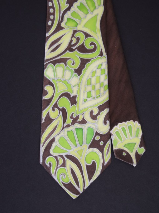 Green Brown Paisley Tie for him
