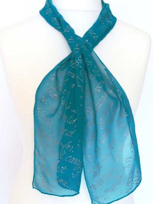Teal LOTR Book Scarf twisted