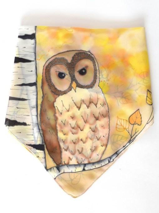Yellow Birch Owl Scarf