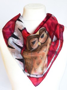 Birch Trees and Owls Red Scarf