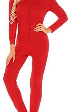 Ekouaer Women's Onesie Pajmas Bandage One Piece Bodysuit Sleep Romper Underwear Long Sleeve Jumpsuit Sleepwear