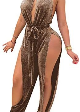 IyMoo Sexy Jumpsuits for Women – One Piece Women Halter Sleeveless Party Outfits Hight Split Pants Bandage Romper