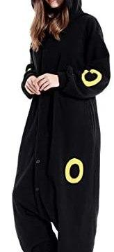 Adult Umbreeon Onesie Pajamas Cosplay Animal Homewear Sleepwear Jumpsuit Costume for Women Men