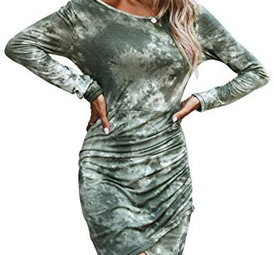 BTFBM Women Ruched Elegant Bodycon Long Sleeve Wrap Fashion Tie Dye Leopard Animal Print Casual Basic Fitted Short Dress