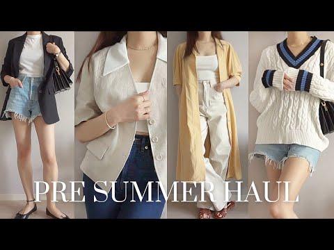 Early Summer Preparation Fashion Howl 🌿 Linen jacket, sandal mules, dress, denim shorts, knitwear, crop top    pre summer fashion haul 2021