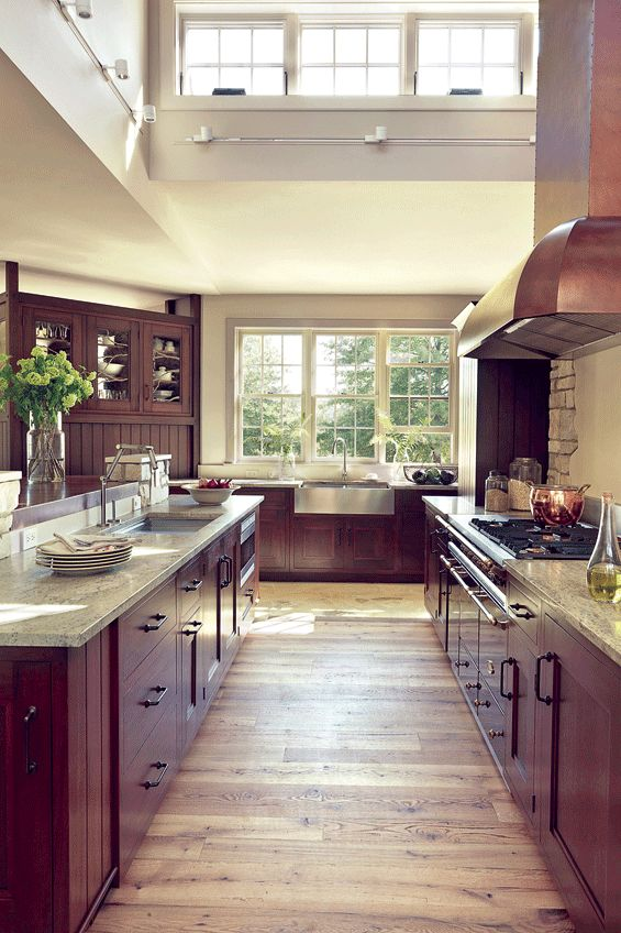 High Ceiling Kitchen – love the natural light and open feeling.