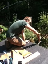 Thomas putting on shelter roofing