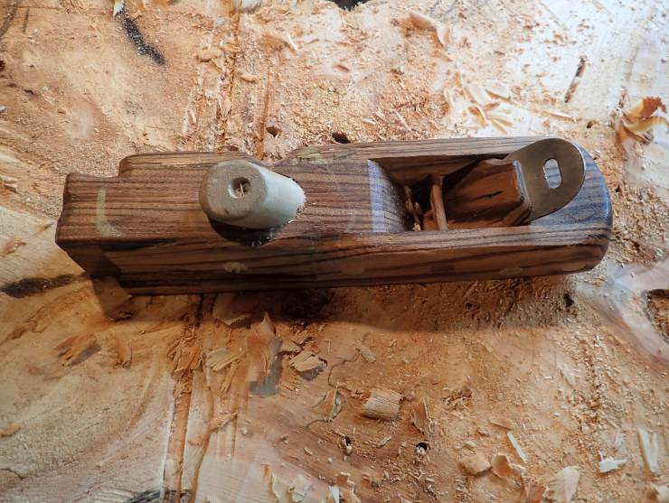 Hand-crafted scrub plane, top view, by RivenJoiner.com.