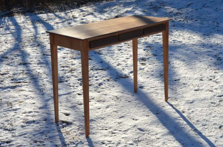 Hand-crafted writing desk at RivenJoiner.com, dovetailed drawers.