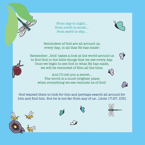 The back cover of Remember...God! - a children's book about looking all around you and finding God everywhere.