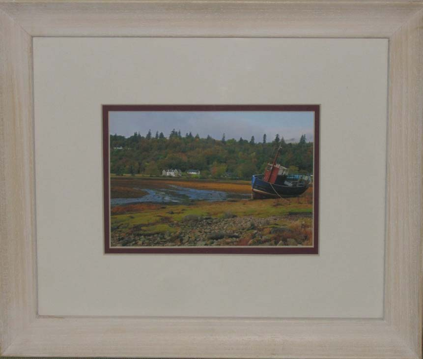 Fishing Boat near Loch: Frame is Obeche frame with Lime wax finish