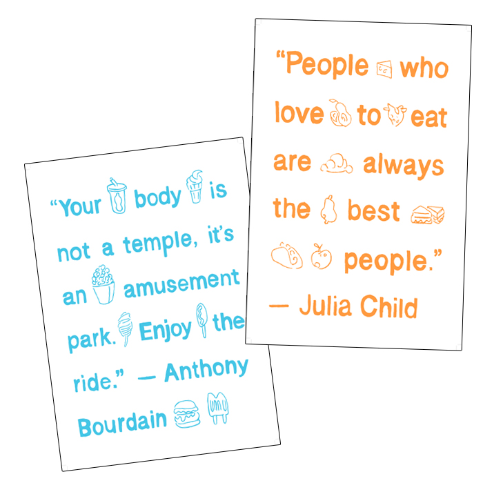Julia Child, Anthony Bourdain tea towel