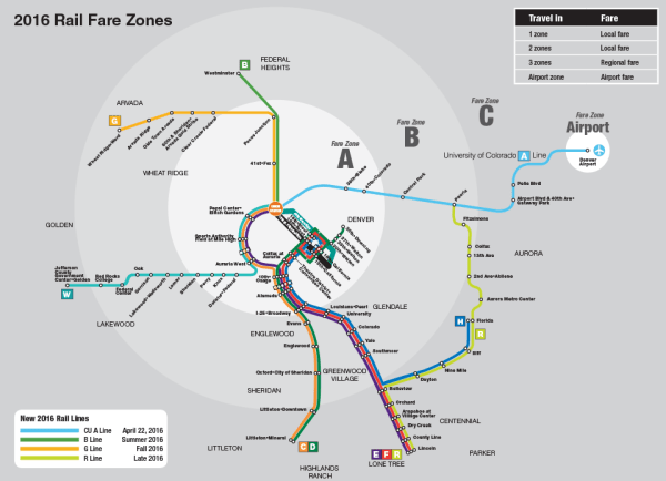 2016 RTD Light Rail Map and Zones