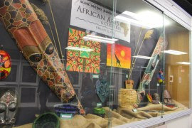 Riverhead High School art classes collaborated on a display for the lobby showcase. <em>Photo: Katie Blasl</em>