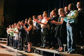 The Riley Avenue fourth grade chorus performed two songs directed by Keith Maguire. <em>Photo: Katie Blasl</em>