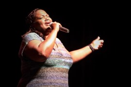 """Riverhead High School math teacher performs """"Trust in You"""" with her band Jus B Cuz."""