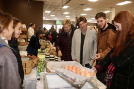 Riverhead Supervisor Laura Jens-Smith, visited the market with her family: her mother Judy Jens, left, her son Ethan and daughter Molly.