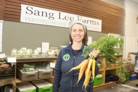 Julianne Hall of Sang Lee Farms, a certified organic grower in Peconic.