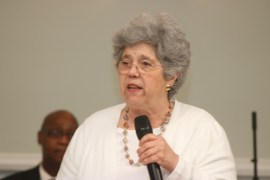 Former School board president Angela DeVito introduces Laurie Downs