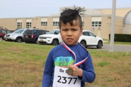 Juan Della Rosa, age 5, of Flanders placed first in the R2R 'Fun Run'