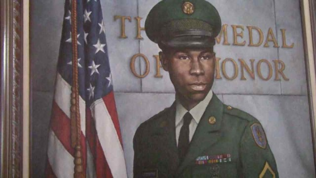 Image of portrait of PFC Garfield Langhorn, painted by Gerald Slater