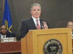 County Executive Steve Bellone delivering the state of the county address earlier this year. (Courtesy photo)