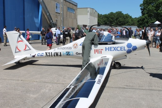 Solar cells line both wings of the ultralight half-scale aircraft. Photo: Denise Civiletti