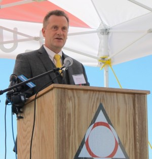 """""""It was on this land that America launched the greatest fighter jets and airplanes the world has ever seen,"""" Riverhead Supervisor Sean Walter said in a speech. Photo: Denise Civiletti"""