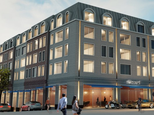 Rendering showing the corner of East Main Street and McDermott Avenue. Architectural renderings by Stephen B. Jacobs Group PC