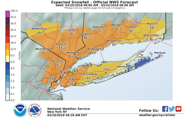 Spring Is Here So Is Long Islands Fourth Noreaster This Month - Easter-us-map