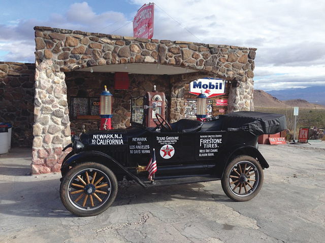 The 1917 Maxwell touring car at a replica of a 1920s Mobil station in Cool Springs, Ariz. (Courtesy photo credit: Bassemir family)