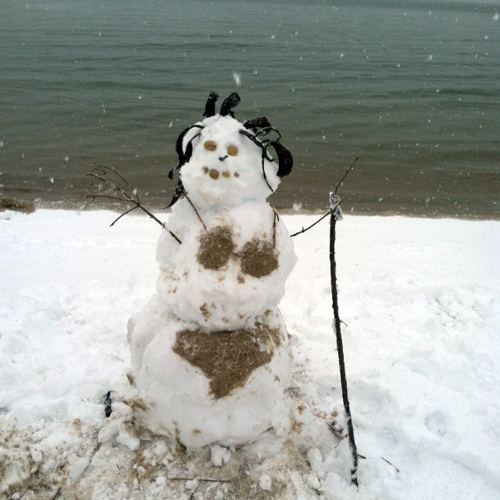 A beach snow woman created by Sophie, Victoria, and Anastasia Stapon in South Jamesport. (Sophie Stapon courtesy photo)