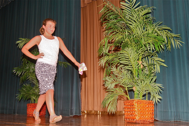 Fifth grader Lola Beyrodt of Baiting Hollow at the Mercy fashion camp show. (Credit: Barbaraellen Koch)
