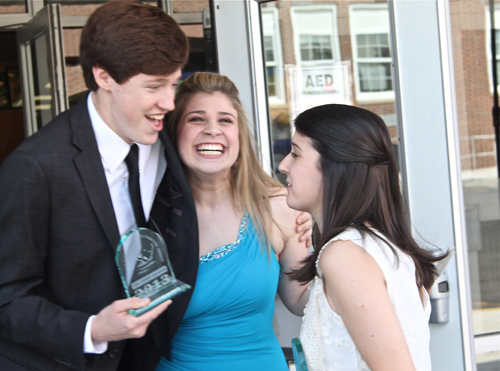 PAUL SQUIRE PHOTO | McGann-Mercy students Patrick O'Brien, Nicole Chiuchiolo and Danielle Allen celebrate after their three Teeny Award wins.