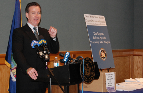 COURTESY PHOTO | State Senator John Flanagan during his press conference in Brentwood on Thursday.