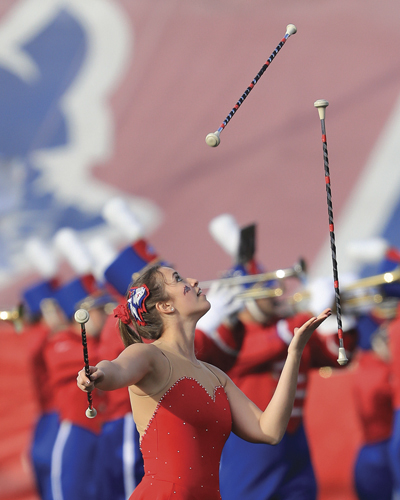Stony Brook University's Featured Twirler Kaylyn Ahrenstein performs with the marching band prior to the start of Stony Brook's 14-9 loss to William and Mary at LaValle Stadium, Stony Brook on Nov. 5, 2016. (Credit: Daniel De Mato)