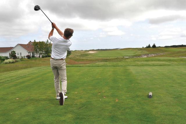 Riverhead, Vineyards Golf Club Head Pro Louis de Kerillis on 1st Tee Box Par 5. (Credit: Joseph DeMaria)