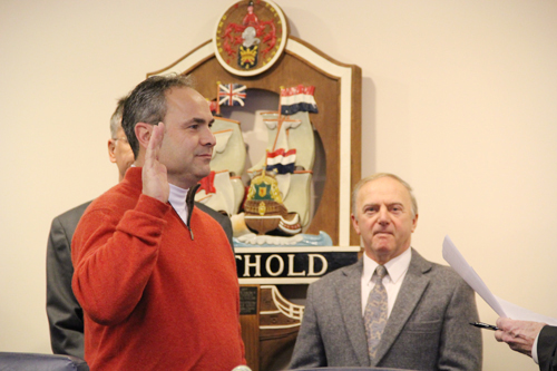 CARRIE MILLER PHOTO   Highway Superintendent Vincent Orlando during his swearing in ceremony on Thursday.