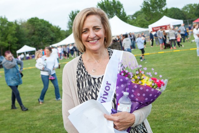 Cathy Russo of Mattituck gave a moving account of her survivor story. (Credit: Katharine Schroeder)