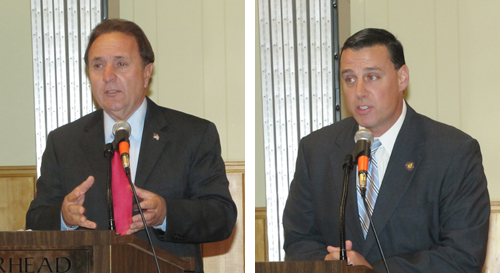 Tom Schiliro (left) and Anthony Palumbo, who are running for the  first district state assembly seat, debated Monday night in Riverhead. (Credit: Tim Gannon)