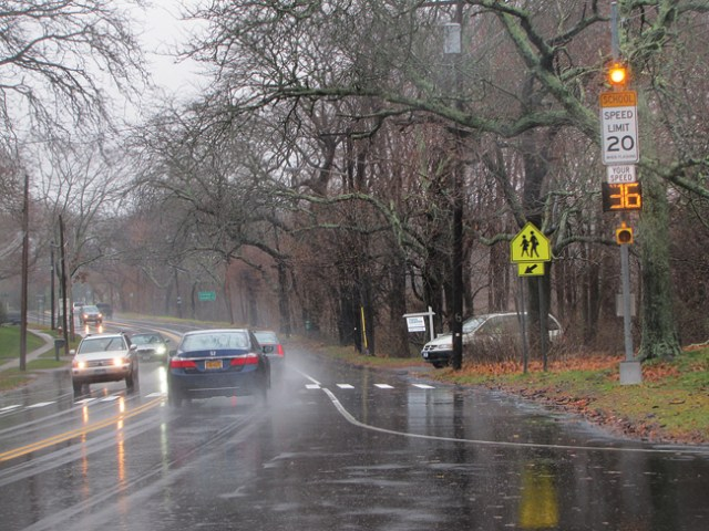 The speed limit posting and radar screen on Main Road outside Mattituck High School. (Credit: Paul Squire)