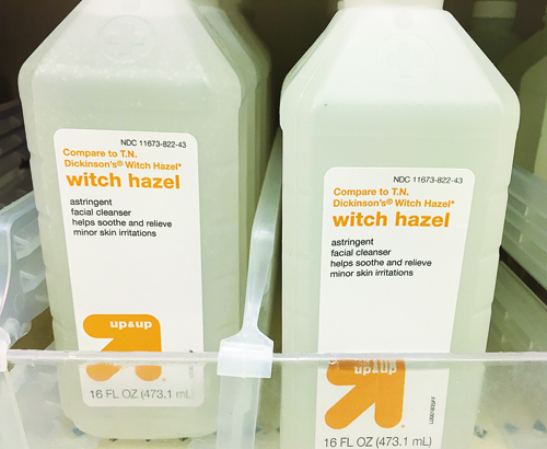 Witch hazel on the shelf at Target in Riverhead (Credit: Rachel Young)