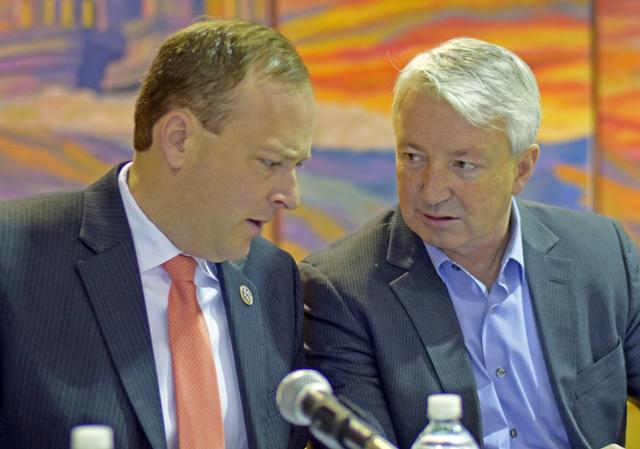 Congressman Lee Zeldin (left) and Senator Phil Boyle (R-Islip). (Credit: Grant Parpan)
