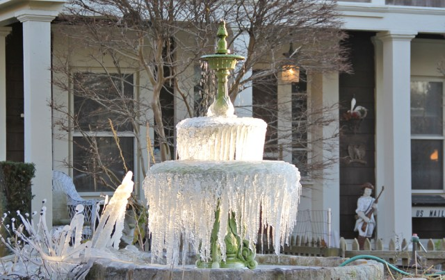 A frozen Main Road fountain from mid-November. (Credit: Carrie Miller)