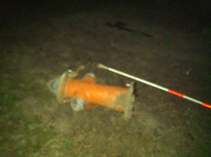 MICHAEL WHITE PHOTO | The hydrant that got got dragged onto a front lawn on Main Road Thursday night.