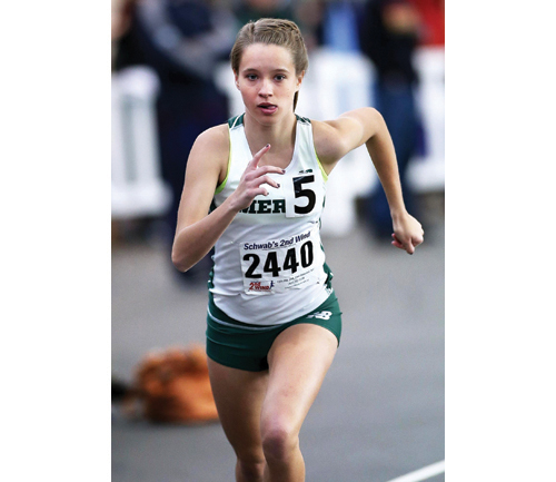 Meg Tuthill of McGann-Mercy runs at a meet earlier this year. She finished XX Saturday in the 1,000 at the state meet. (Credit: Garret Meade, file)