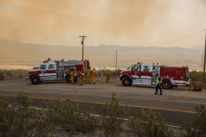 Firefighters stage outside of the Topock Fire. Rick Powell/RiverScene
