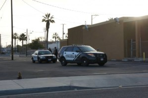 Hemet PD officers on scene of today's early morning arrest.