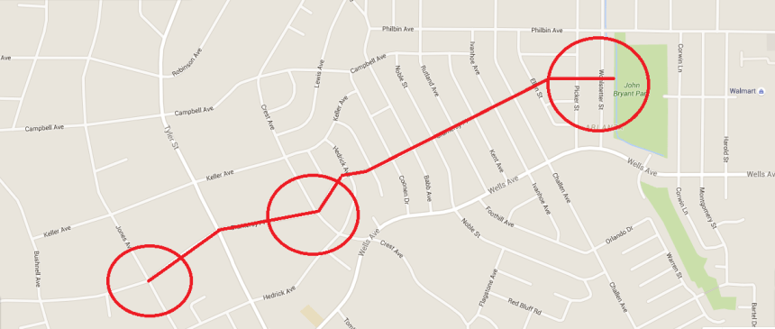 Map showing where three of the sexual assaults occurred yesterday in Riverside